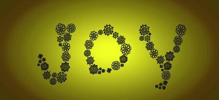 Freude Wort von Häkeln Formen auf grün Standard-Bild - 80166061