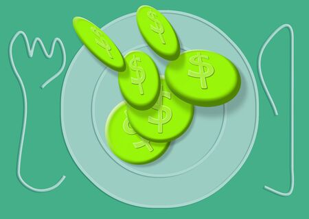 Dollar coins for food budget Stock Photo
