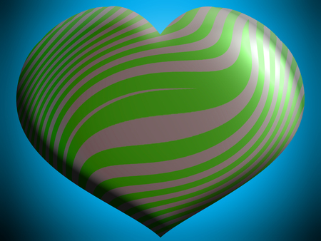 Green striped helium heart shape balloon on sky