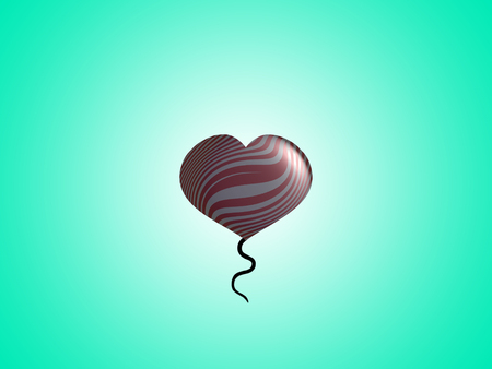 aniversaries: Tailed helium heart balloon shape on sky