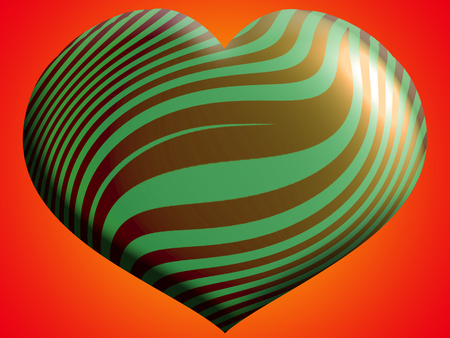 aniversaries: Green and gold stripes heart balloon shape