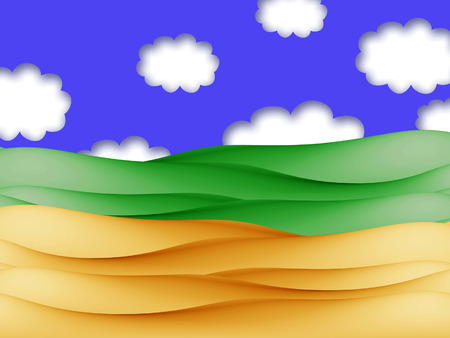 Beach sand and green field landscape illustration under sky clouds