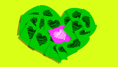 Green heart of paper notes Stock Photo