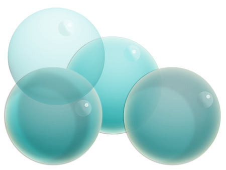 Four blue transparent balloons isolated on white background