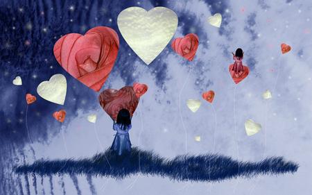 Sueño de niña en el cielo con corazones de amor rosas en la nube Foto de archivo - 80382142