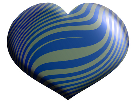 Silver and blue striped heart shape isolated on white
