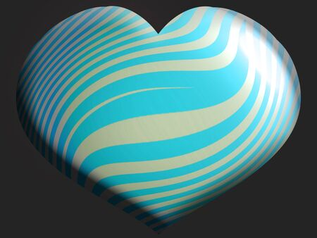Stripes on heart shaped helium balloon isolated on dark background