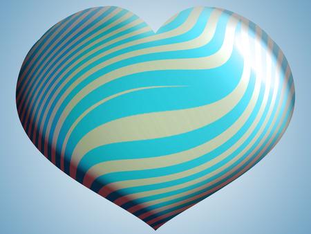 Cyan striped helium balloon shape Stock Photo