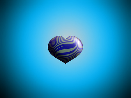 aniversaries: Small heart balloon centered on blue sky Stock Photo