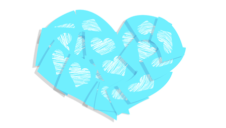 Blue love heart notes isolated on white