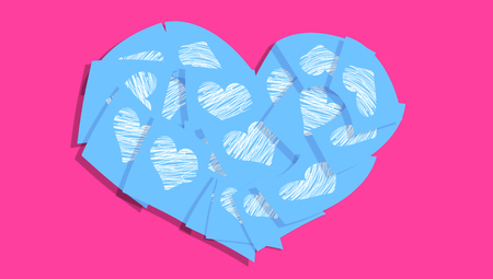 Blue heart of hearts paper notes Stock Photo