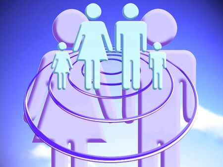 Couple projecting family target conceptual image Stock Photo