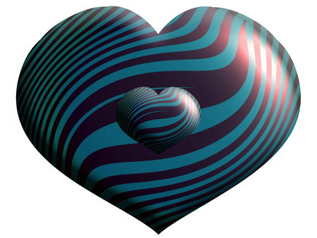 Striped helium heart shape balloon close up