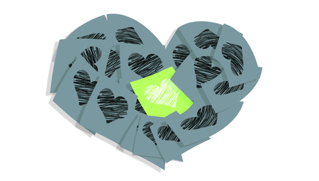 Grey love notes papers heart shape Stock Photo