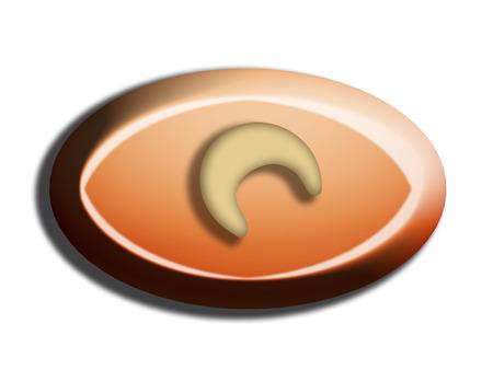 Orange and hazelnut chocolate bombom isolated top view