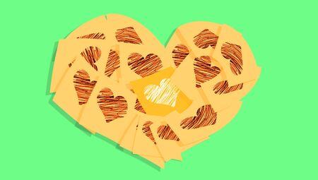 february 1: Orange heart on green background Stock Photo