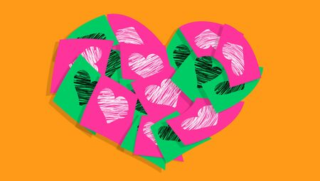 Colorful love messages heart