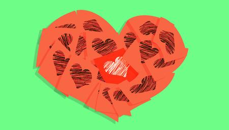 Love memos hears in orange on green Stock Photo