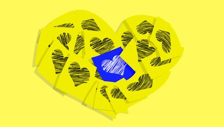 Sticky notes love messages on yellow background