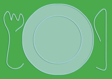 Empty plate illustration on green color Banco de Imagens - 96659334