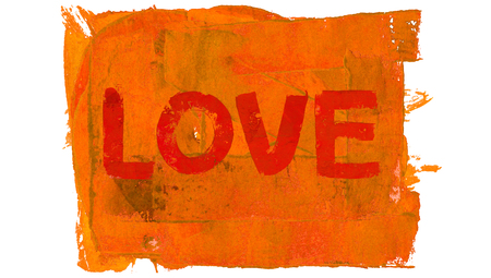 Love word orange abstract background paint Stock Photo