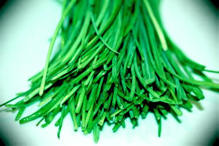 Green ciboulette leaves sticks close up Stock Photo