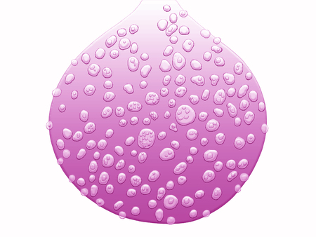 Purple drop shape with drops isolated on white background