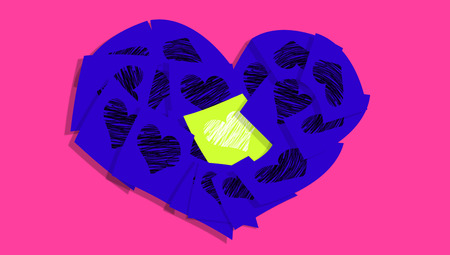 Colorful hearts love message card