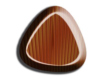 Triangular striped chocolate isolated on white
