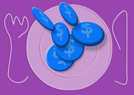 Blue coins cookies on purple plate illustration Stock Photo