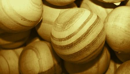 Wood balls closeup