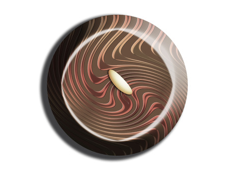 Dark chocolate circle top view Imagens