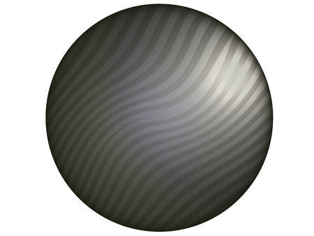 Gray stripes circular button isolated on white