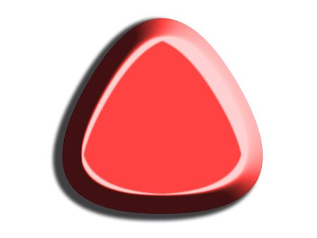 Red triangular button isolated on white