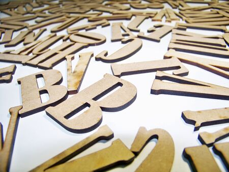 Letters signs wood shapes Stock Photo
