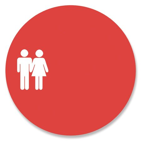 Couple silhouette in red spot background