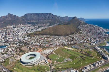 Aerial view of Cape town South Africa from a helicopter. Panorama Cape Town South Africa from birds eye view on a sunny day Stock Photo