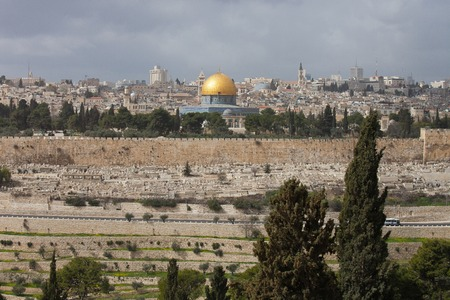 Western Wall and golden Dome of the Rock at sunset, Jerusalem Old City, Israel. Stock Photo