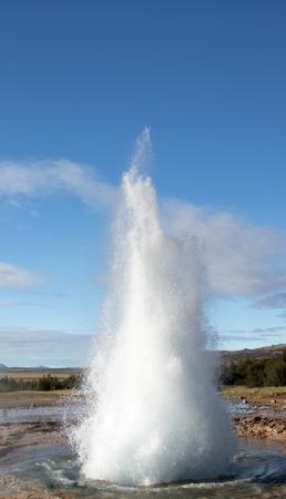 Strokkur Geyser eruption. Eruption of hot water. Gold Circle. Iceland