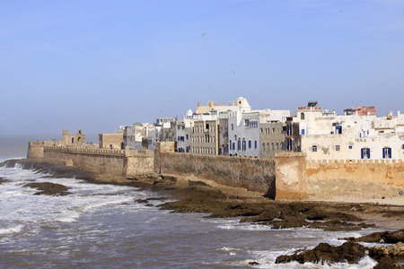 Essaouira Ramparts aerial panoramic view in Essaouira, Morocco. Essaouira is a city in the western Moroccan region on the Atlantic coast