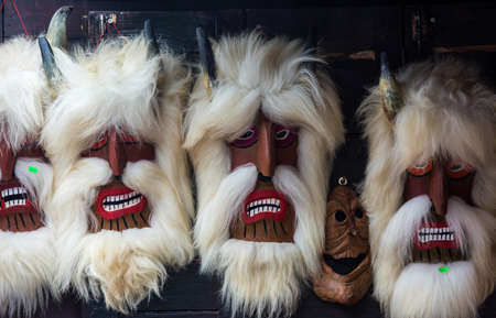 Brasov, Romania-June 14 2018 : Traditional folk Romanian mask of Dracula. Scary Romanian souvenir