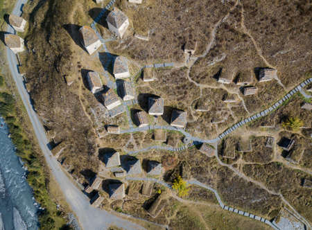 Dargavs, the medieval necropolis city of the dead in the mountains of the Caucasus. North Ossetia. Aerial photo on a drone.