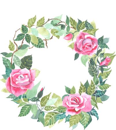rode roos krans aquarel vector Stock Illustratie