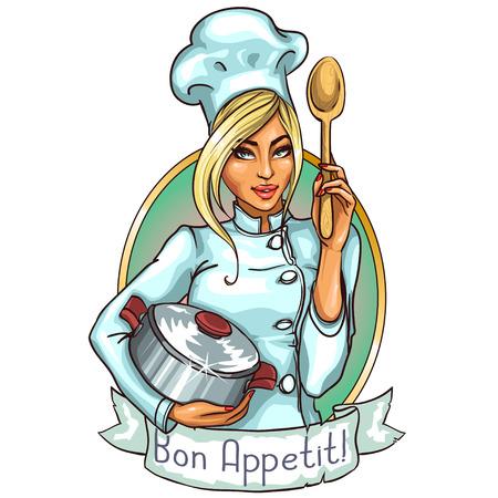 かわいいシェフの鍋にスプーン