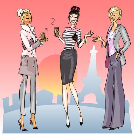 fiatal nők: Fiatal nők kávéval beszélgetni az utcán Illusztráció