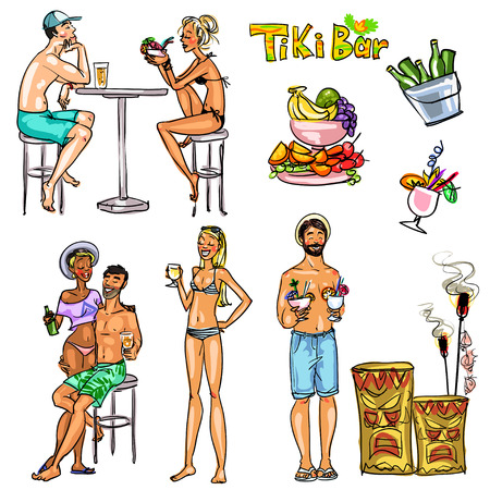 Tiki Bar Collection, Hand drawn vector Vector