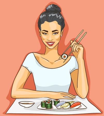 Portrait of beautiful Asian woman. 向量圖像