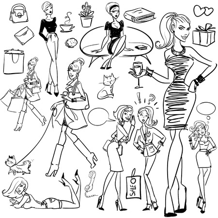 chat up: Fashion and Beauty hand drawn collection.