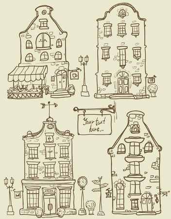 store window: Set of hand drawn houses Illustration