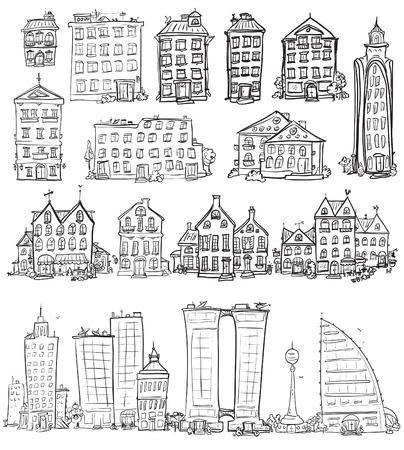 edificios: Conjunto de casas dibujadas a mano